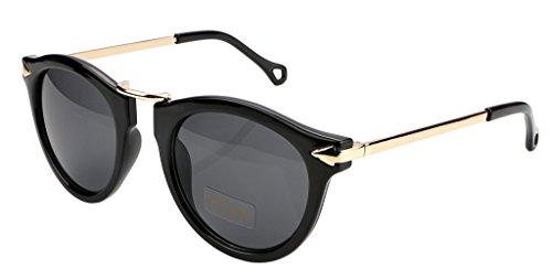 FEISEDY Vintage Design Polyester Metal Frame Polycarbonate Lenses Women Sunglasses Bright Black UV400