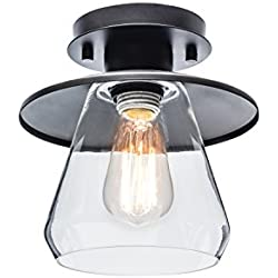 Globe Electric Vintage Semi-Flush Mount Ceiling Light, Oil Rubbed Bronze Finish, Clear Glass Shade, 64846