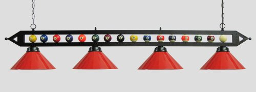 "72"" Black Metal Ball Design Pool Table Light Billiard Lamp Choose Black, Red, Green Metal Shades or White Glass (Red Metal Shades)"