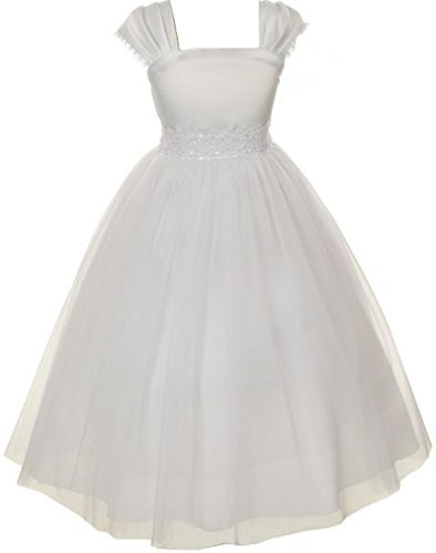 Big Girls' First Communion Pleated Cap Sleeve Flowers Girls Dresses White Size -