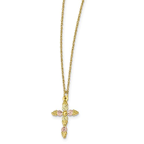 10k Tri Color Black Hills Gold Cross Religious Chain Necklace Pendant Charm Crucifix Fine Jewelry For Women Valentines Day Gifts For Her
