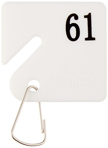 Hooks Numbered 100 (Buddy Products Plastic Key Tags, Numbered 61-100, White (0033))