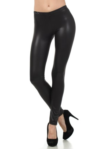 FOMatteLiquid8515 Footless Ultra Slim Fit Matte Liquid Wet Look Leggings - Black/Small]()