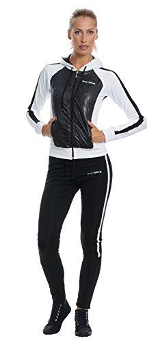 Mobina Damen Sportanzug mit Kapuze - schwarz / weiss L
