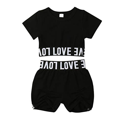 Heartell Toddler Baby Kids Love Black Outfits Set Short Sleeve Crop Top Pleated Shorts Sets (Tag Size 100(for 3-4T))