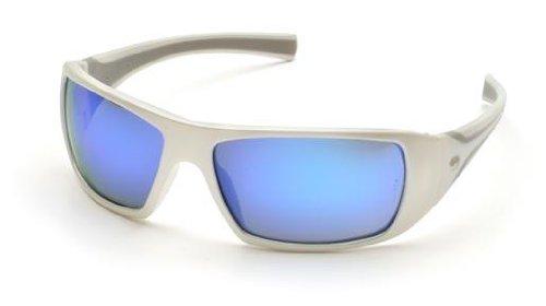 (Pyramex Goliath Safety Glasses,White Frame, Ice Blue Mirror Lens)