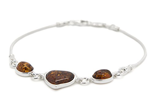 925 Sterling Silver Heart Link Bracelet for Women with Genuine Natural Baltic Amber.