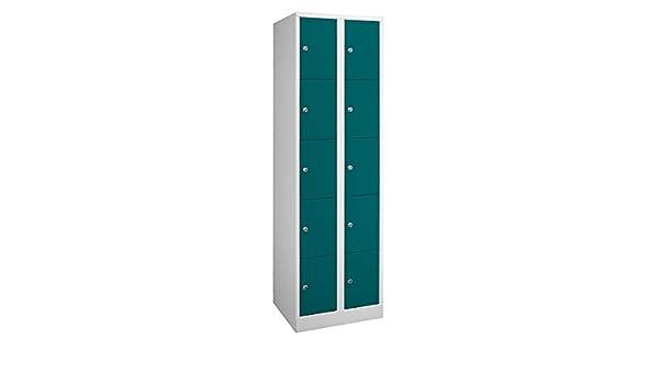 Wolf armario taquilla de Dimensions Confort – 10 compartimentos, anchura 600 mm gris claro/verde ópalo – Armario Armario para – Taquilla armario cierre armarios armarios para vestuarios armarios verrouillables Casier verrouillable: Amazon.es: