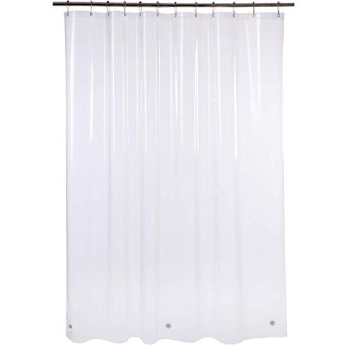 Amazer Shower Curtain Liner, 72 Inches W x 96 Inches H EVA 5G Bathroom Plastic Shower Curtain with 3 Magnets and 12 Rust-Resistant Grommet Holes Without Chemical Odor-Clear