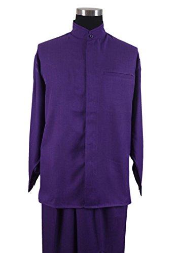 - Milano Moda Banded Collar Long Sleeve Walking Suit M2826-Purple-M-32