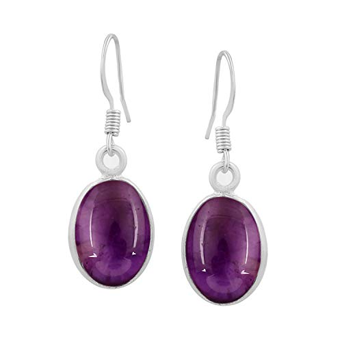 Amethyst Dangle Earrings 925 Silver Plated Handmade Jewelry For Women Girls