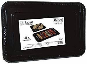 10 x rectangular black plastic platters(46x30cm) by sarbet