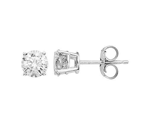 14k White Gold Round-Cut 3/8 Carat Total Weight White Diamond Stud Earrings (0.375 Ct Round Diamond)
