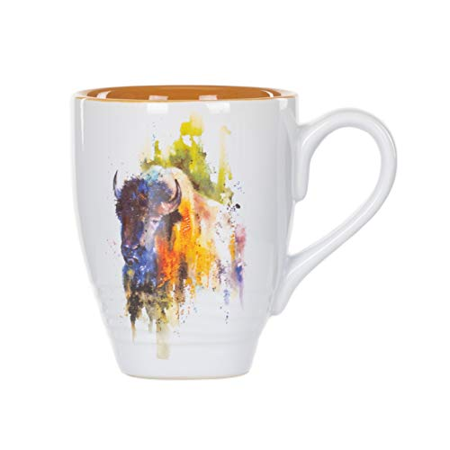 - DEMDACO Bison Watercolor Brown On White 16 Ounce Glossy Stoneware Mug With Handle.