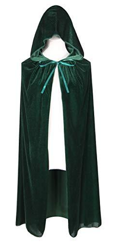 BIGXIAN Kids Hooded Velvet Cloak Halloween Christmas Fancy Cape for Kids (Green)