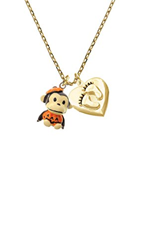 [Resin Monkey in Pumpkin Costume Custom Engraved Gold Tone Baby Feet Heart Locket Necklace] (Custom Made Infant Halloween Costumes)
