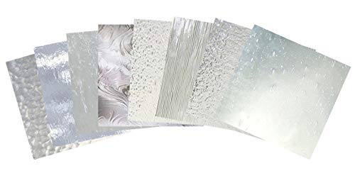 Stained Glass Variety Pack - All Clear Textured Glass 8 Pieces 8x8 Inch