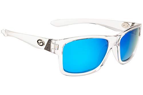 (Strike King Plus Platte Polarized Sunglasses, UVA/UVB Protection, Shiny Crystal Clear Frame, Multi-Layer White Blue Mirror Gray Base Lens)