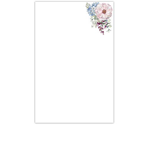 (YaYstationery Notepads - Memo Pads - Scratch Pads - Writing Pads - Illustrated Notepads - 5.5 x 8.5 inches - Thick Premium Paper - Printed Notepad - Side Bouquet)