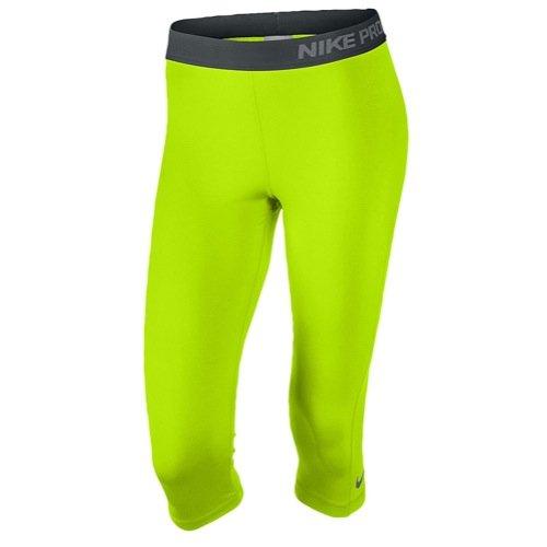 Nike Womens Pro Training Capri (X-SMALL, Volt/Anthracite/Cool Grey)
