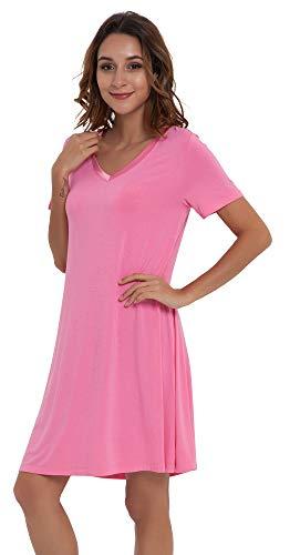NEIWAI Womens Nightgowns Bamboo Sleep Shirt Short Lounge Dress Raspberry Pink 4X