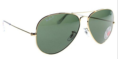 RAY-BAN RB 3025 AVIATOR POLARIZED SUNGLASSES (55 mm, 001/58 ARISTA CRYSTAL GREEN POLARIZED - Icon Sunglasses Ban Ray