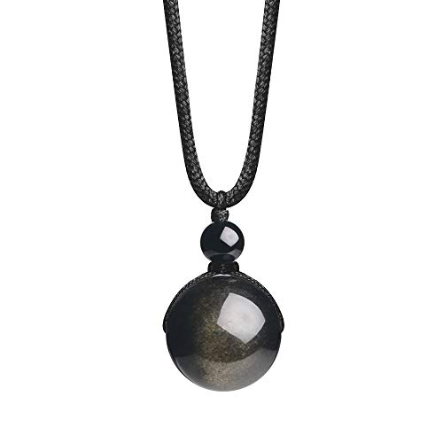 Obsidian Gold (iSTONE Unisex Genuine Round Gemstone Beads Pendant Necklace with Adjustable Nylon Cord 25 Inch (Gold Obsidian))