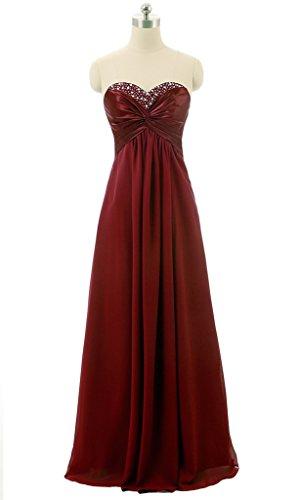 Vantexi Women's Chiffon Long Beaded Prom Bridesmaid Dress Burgundy 20