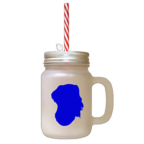 Royal Blue German Wirehaired Pointer Silhouette Frosted Glass Mason Jar With Straw