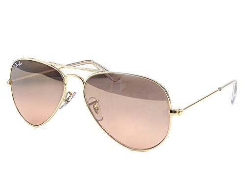 Ray-Ban Women's Oversized Original Aviator Sunglasses, Gold/Smoke Rose Mirror, One - Ban Aviator Ray Mirror
