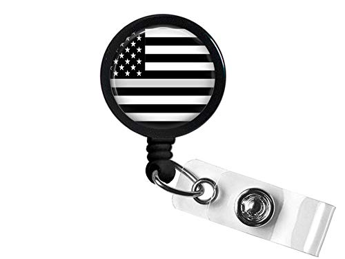 American Thin Line Flag Retractable ID Card Badge Holder with Belt Clip, Name Nurse Decorative Badge Reel Clip on Card Holders (American Thin Gray Line Flag) (Holder Flag Badge)