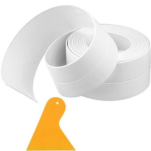 1 Roll Self-Adhesive Waterproof Sealing Tape Waterproof Caulk Strip Tub Caulking Tape Sealing Strip with Sealant Tool…