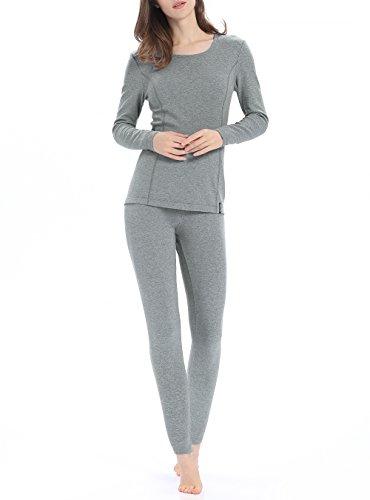 Genuwin Women's Thermal Underwear Set Stretchy Cotton Ladies Long Johns Underwear Women Base Layer S~XL(Light Gray, Medium