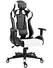 Mahmayi C599 Adjustable PU Leather Gaming Chair - PC Computer Chair for Gaming, Office or Students, Ergonomic Back Lumbar Support (White & Black, No Footrest)