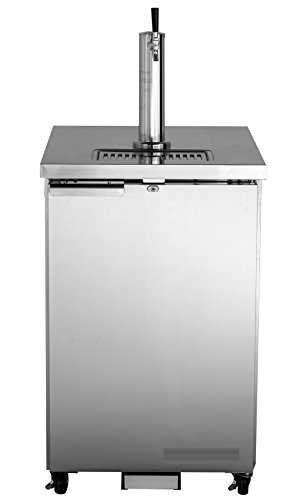 Refrigerated Wide Drawer (Chef's Exclusive Commercial Stainless Steel NSF Bar Direct Draw Kegerator Beer Dispenser Cooler with 1 Single Tower Tap Holds 1 Half 1/2 Size Keg, 23.3 Inch Wide 7.2 Cubic Feet)