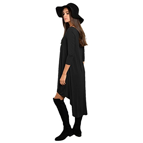 ZhiyuanAN Vestido De Manga Larga Para Mujer Casual Cuello Redondo Dress De Plisada Asimétrica Bohemia Vestido De La Playa Negro