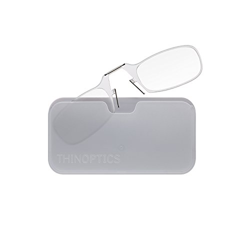 ThinOPTICS Reading Glasses + White Universal Pod Case | Classic Collection, Clear Frames, 2.50 - Thin Glasses Frames