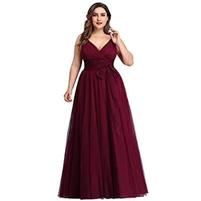 Ever-Pretty Women's Plus Size V-Neck Wrap Empire Waist Tulle Bridesmaid Dress 7303PZ at Women's Clothing store