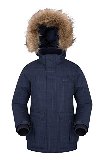 Navy Jacket Youth Waterproof Faux Padded Ideal Cold Seams Fur Camping Down Breathable Trim Antarctic for Kids Warehouse in Taped Hoodie Coat Mountain Weather qxEXBB