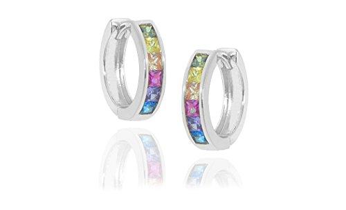 NYC Sterling Women 15MM Rainbow Cubic Zirconia Hoop Earring (sterling silver)