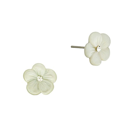 Liavy's Flower Fashionable Shell Earrings - Stud - Sparkling Crystal - Mother of Pearl Shell Mother Of Pearl Flower