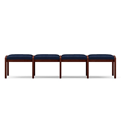 Lenox Four Seat Fabric Bench Dimensions: 86.5''W x 26''D x 18''H Seat Dimensions: 19.5''Wx26''Dx18''H Navy Fabric/Mahogany Frame by Lesro