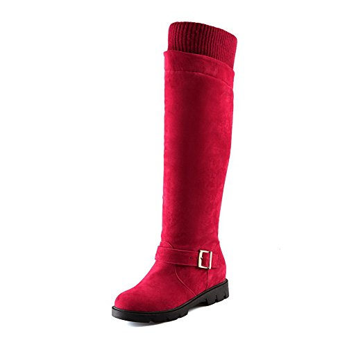 Toe AgooLar Women's frosted Boots Blend Red Materials Round Solid Closed Y6gqSYw