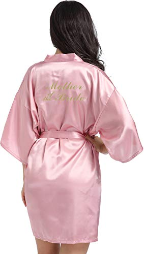 DF-deals Women's Satin Kimono Robe for Bridesmaid and Bride Wedding Party Getting Ready Short Robe with Gold Glitter Rose Gold Medium