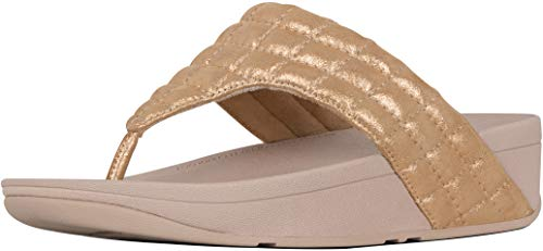 FitFlop Women's Lulu Padded Shimmy Suede Toe Thong Rose Gold 5 M US ()