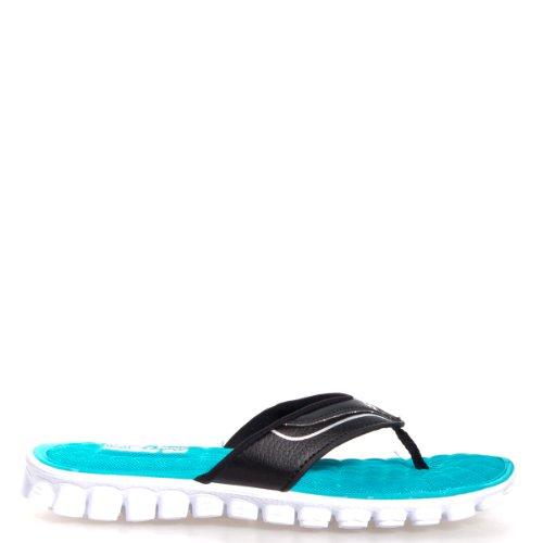c00863438a27bd SKECHERS Women s EZ Flex Cool - Summer Solstice Black White Sandal 11 B -  Medium - Buy Online in Oman.
