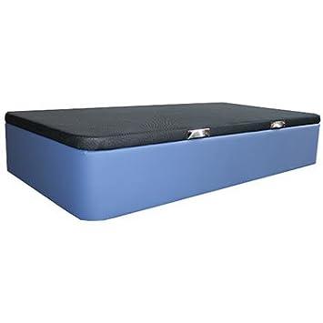 Ventadecolchones - Canapé Apertura Lateral Gran Capacidad Modelo Serena tapizado en Polipiel Azul Medidas 90 x 180 cm: Amazon.es: Hogar