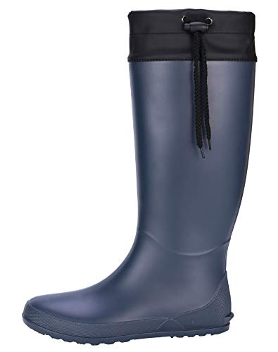 Women's Tall Rain Boots Soft Waterpoof Wellingtons Wellies Ultra Lightweight Snow Boots BL37 Navy