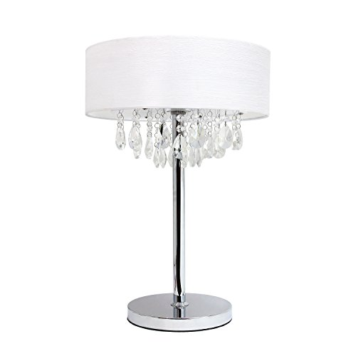 Elegant Designs LT1023-WHT Romazzino Crystal and Chrome