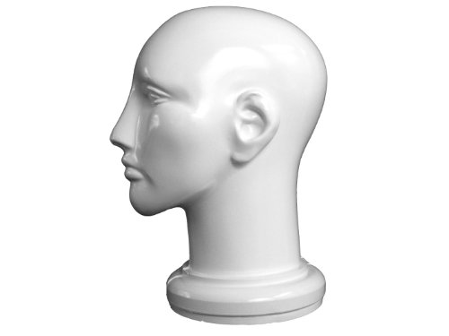 Unisex Head w/ Ear Canal - Case of 24, White by Plastic Mannequins